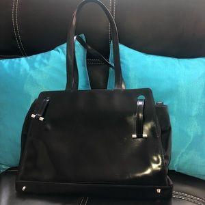 Vintage Furla black leather handbag